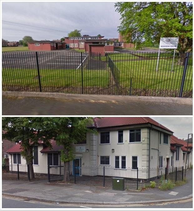 Trafford High School, top, and Trafford Medical Education Centre, could leave their sites which have been deemed 'not fit for purpose'. Pictures: Google StreetView