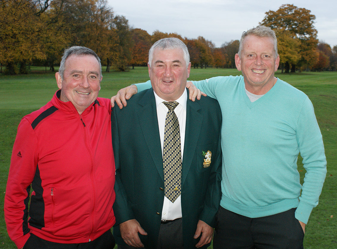 Sale's Tony Lowe, left, and Tony Stiles, right, with Haydock Park captain Chris Lester after their am-am section triumph