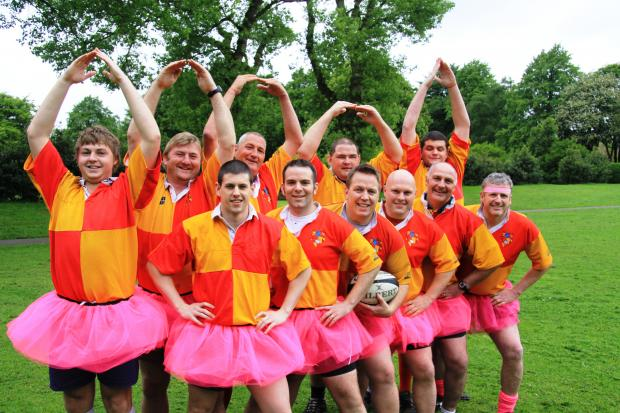 Rugby players are pretty in pink for charity