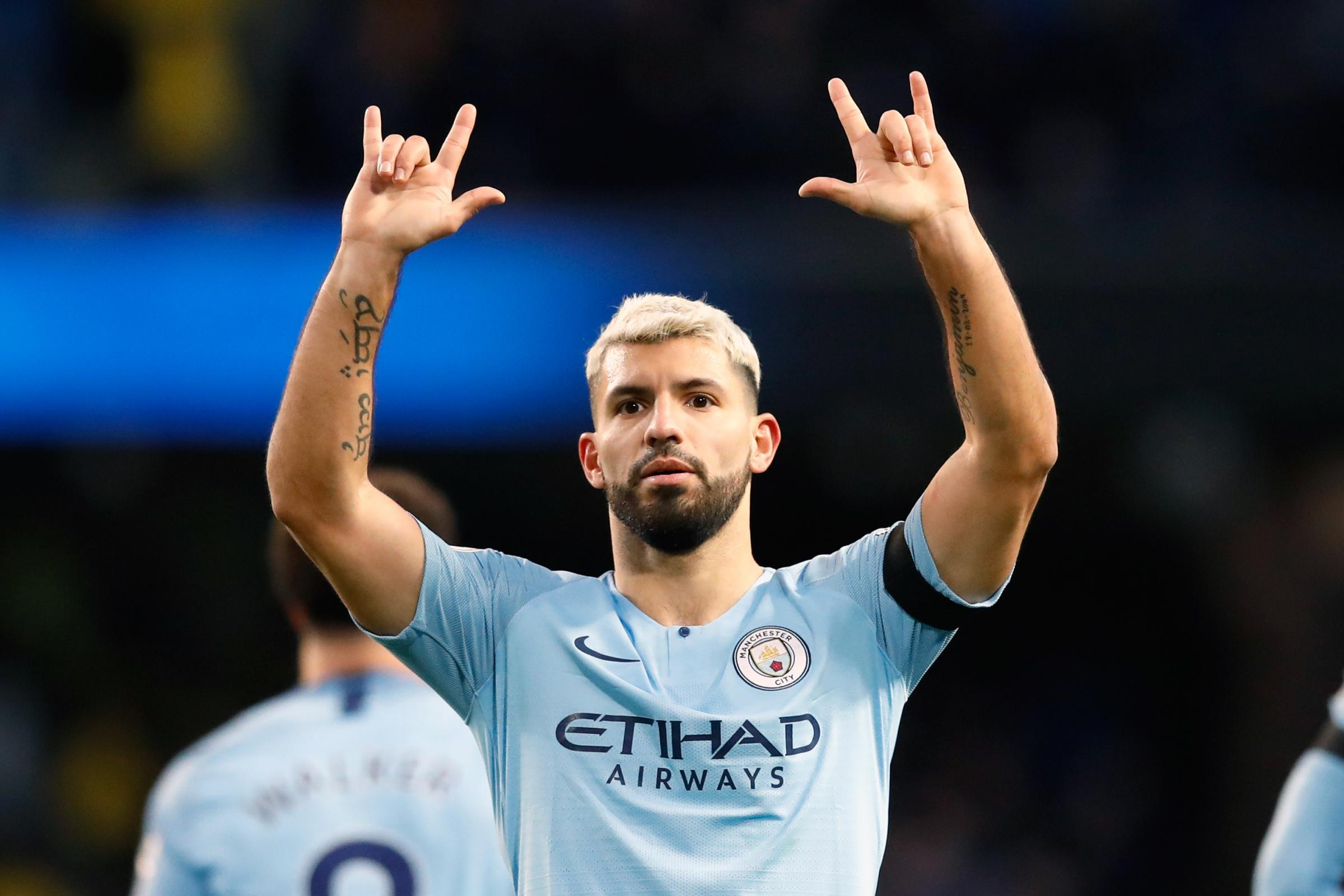Manchester City striker Sergio Aguero celebrates completing his hat-trick during his side's 6-0 rout of Chelsea at the Etihad Stadium