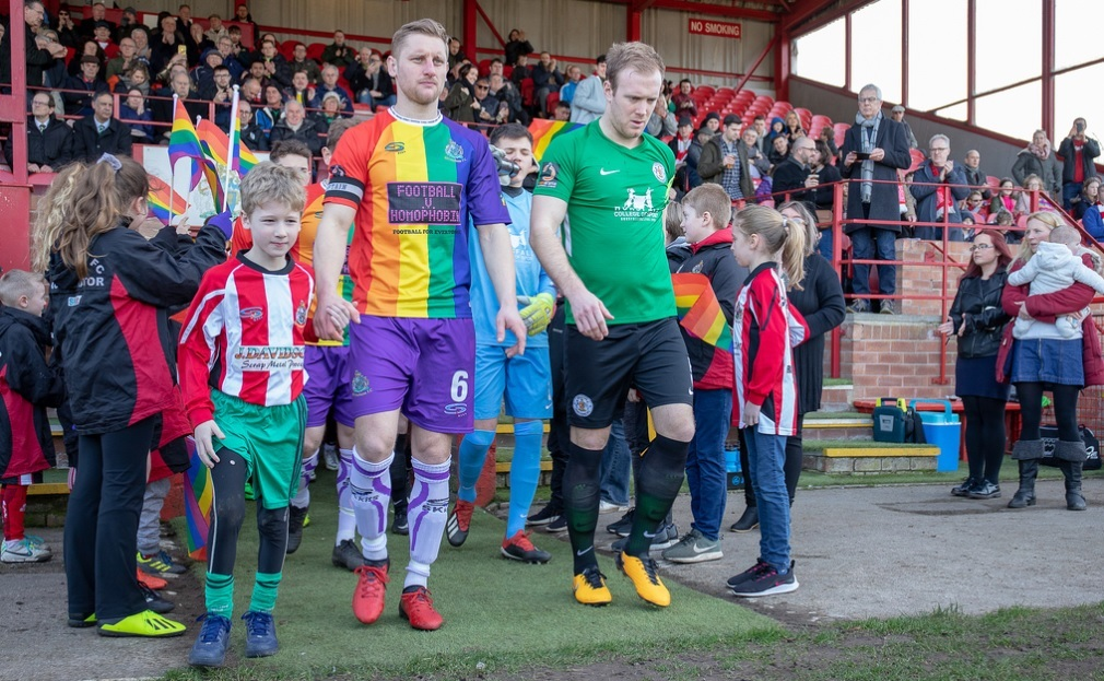 Altrincham FC make history as the first club to play in an anti-homophobia kit against Bradford (Park Avenue). Picture: Jonathan Moore