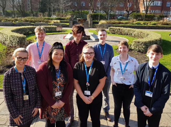 Some of Trafford Council's apprentices. From left to right, front row, Charlotte Stoddard, Mandy Lui, Alice Edmondson, Hannah Bigland, and Liam Gilmore. Top, left to right,  Ethan Gorman, Neill Meehan and Ciaran Smith
