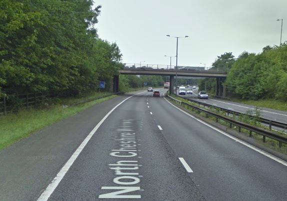 The M56 was shut between Junctions 1 and 2 after a woman fell from a motorway bridge. Picture, Google Maps