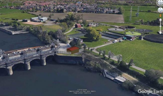 The hydropower scheme at Irlam Locks. Picture: Salford City Council, Landsat/Copurnicus