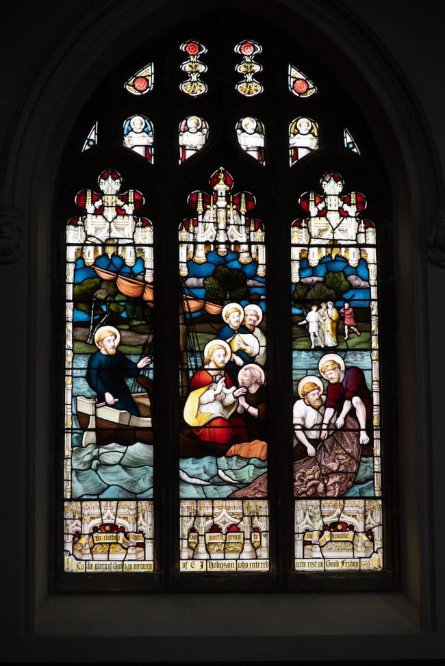 The stained-glass window at St Margaret's Church, Altrincham