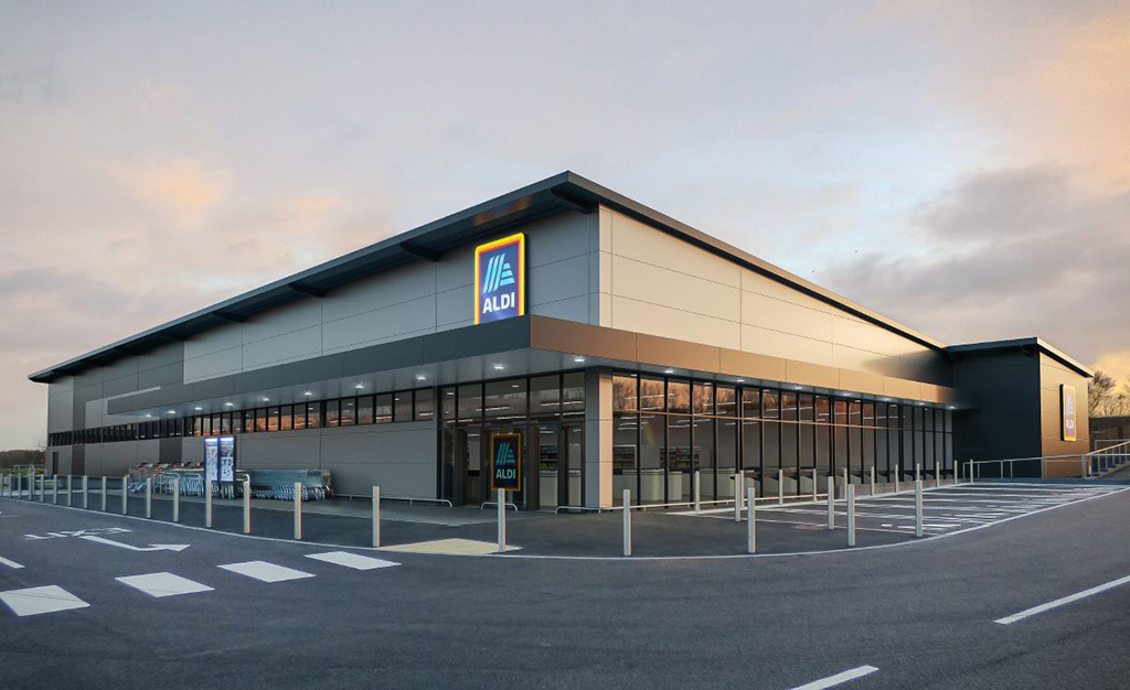 A CGI image of the new Aldi at Trafford Retail Park
