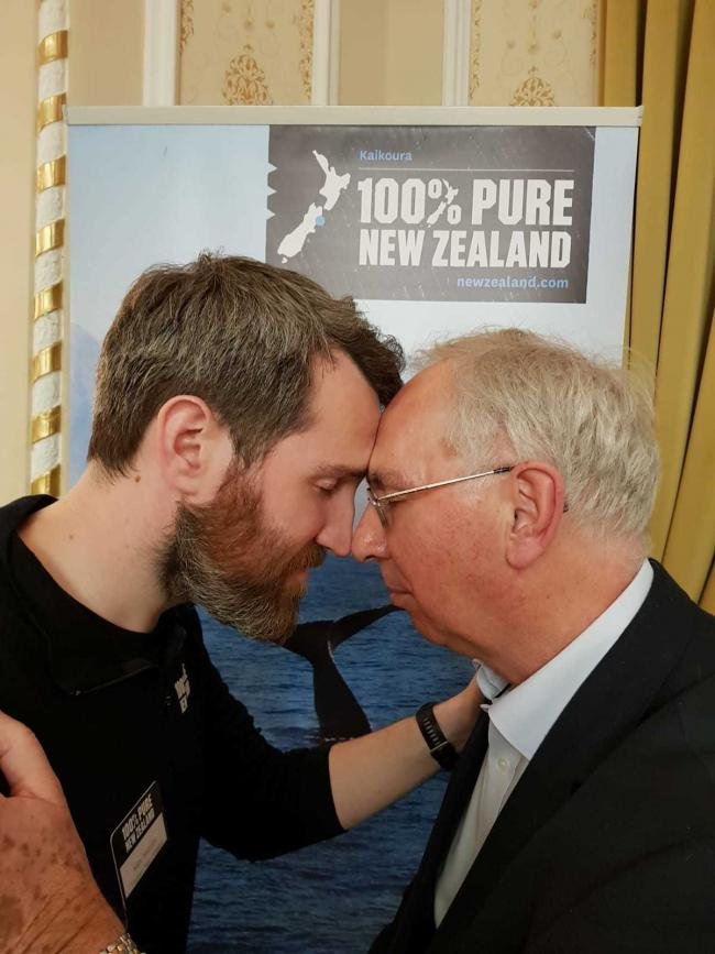 Marc Mulcahy, head of Tourism New Zealand, greets Altrincham travel agent Ken Garrity with a traditional Maori 'hongi' welcome
